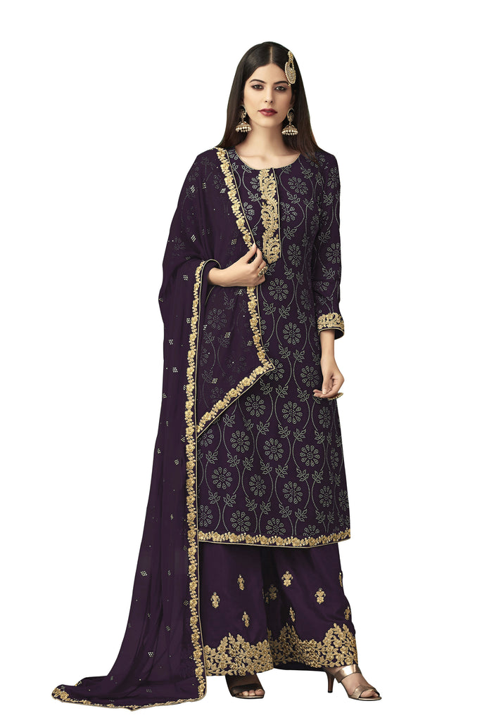 Latest Design Georgette Salwar-Suit With Brown Colour