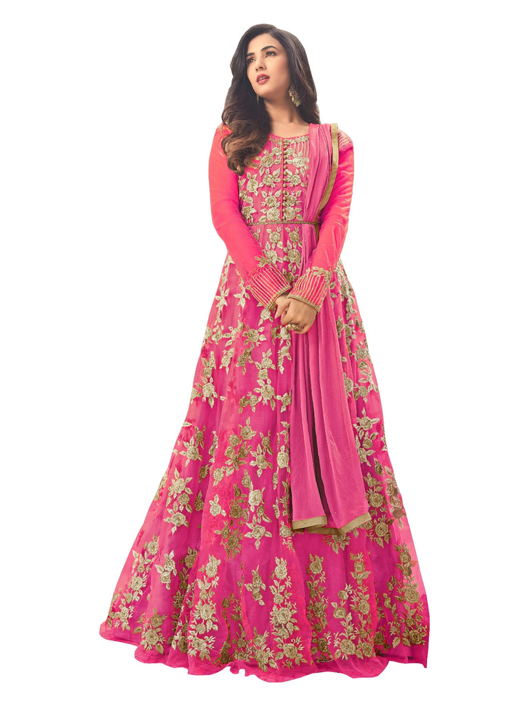 Latest Design Net Gown With Pink Colour