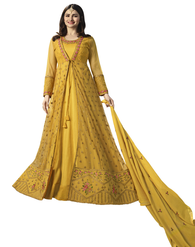 Latest Design Nylon Net Gown With Yellow Colour
