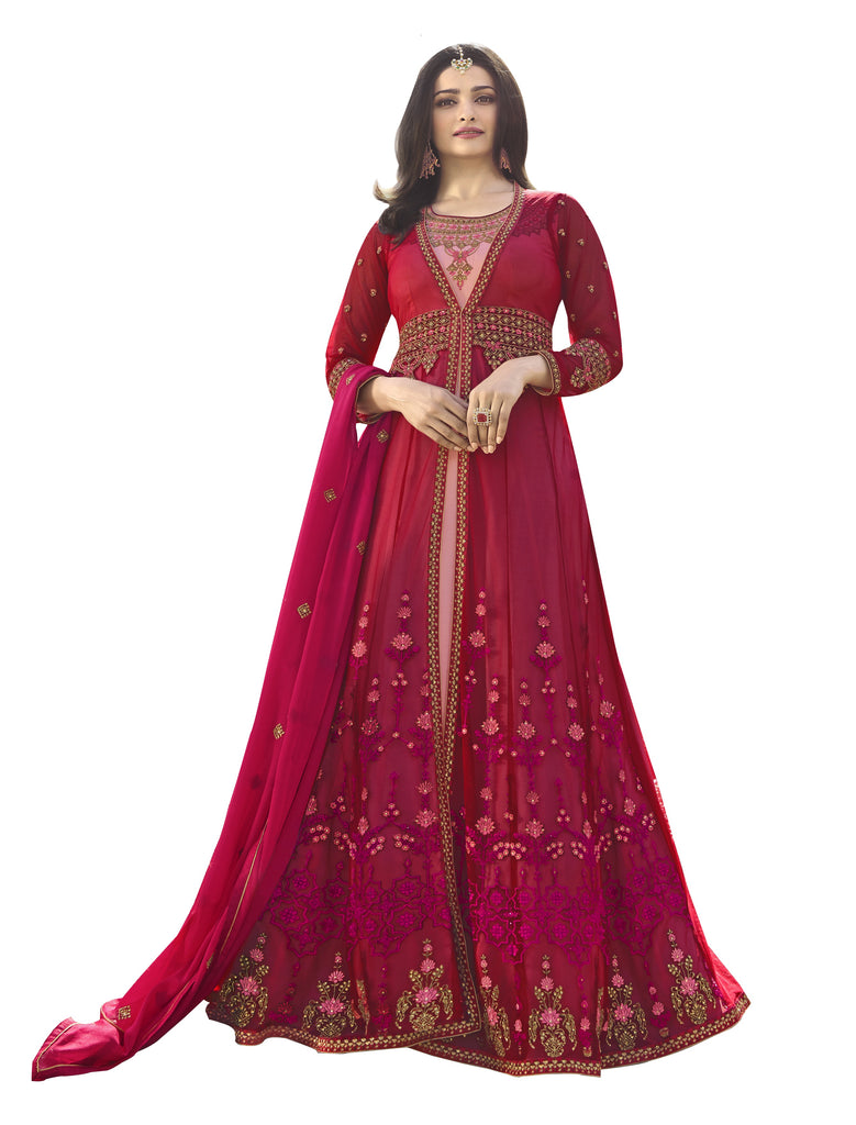 Latest Design Nylon Net Gown With MaroonColour