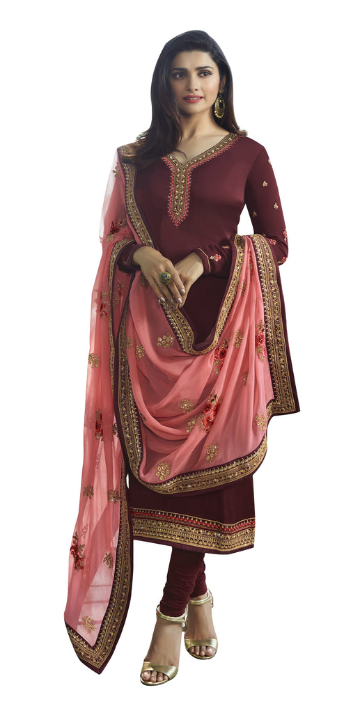 Latest Design Georgette Satin Gown With Maroon Colour