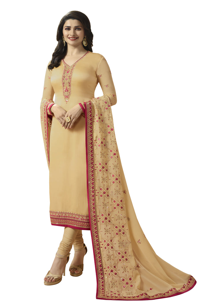 Latest Design Georgette Satin Gown With Cream Colour