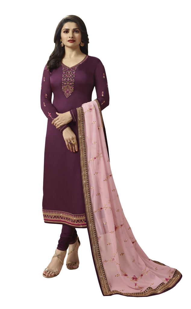 Latest Design Georgette Satin Gown With Purple Colour