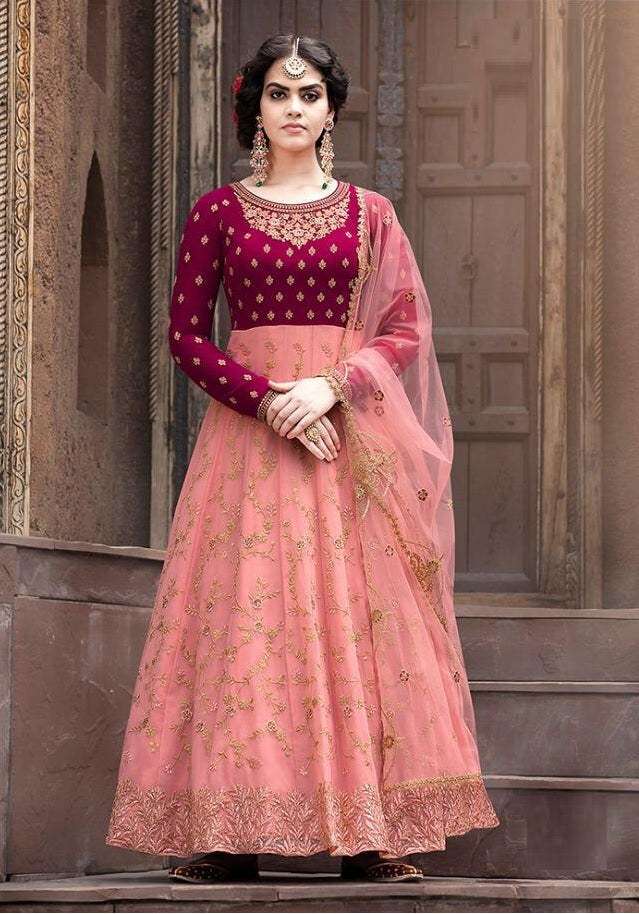 Latest Design Georgette Gown With Peach Colour
