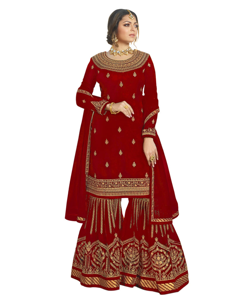 Latest Design Georgette Dress With Maroon Colour