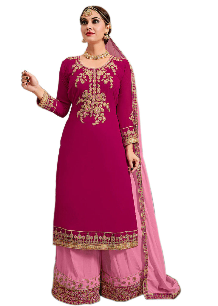 Latest Design Georgette Dress With Pink Colour