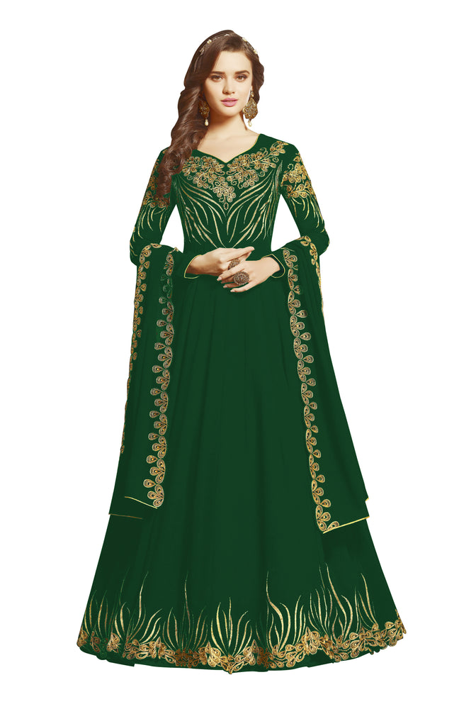 Latest Design Georgette Gown With Green Colour