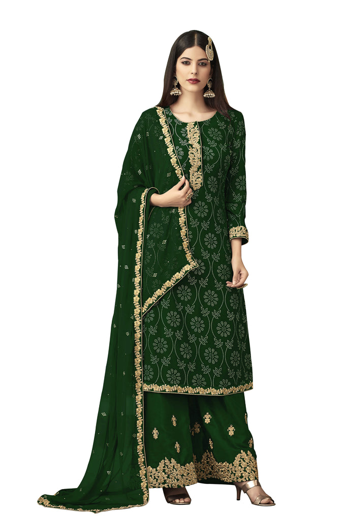 Latest Design Georgette Salwar-Suit With Green Colour
