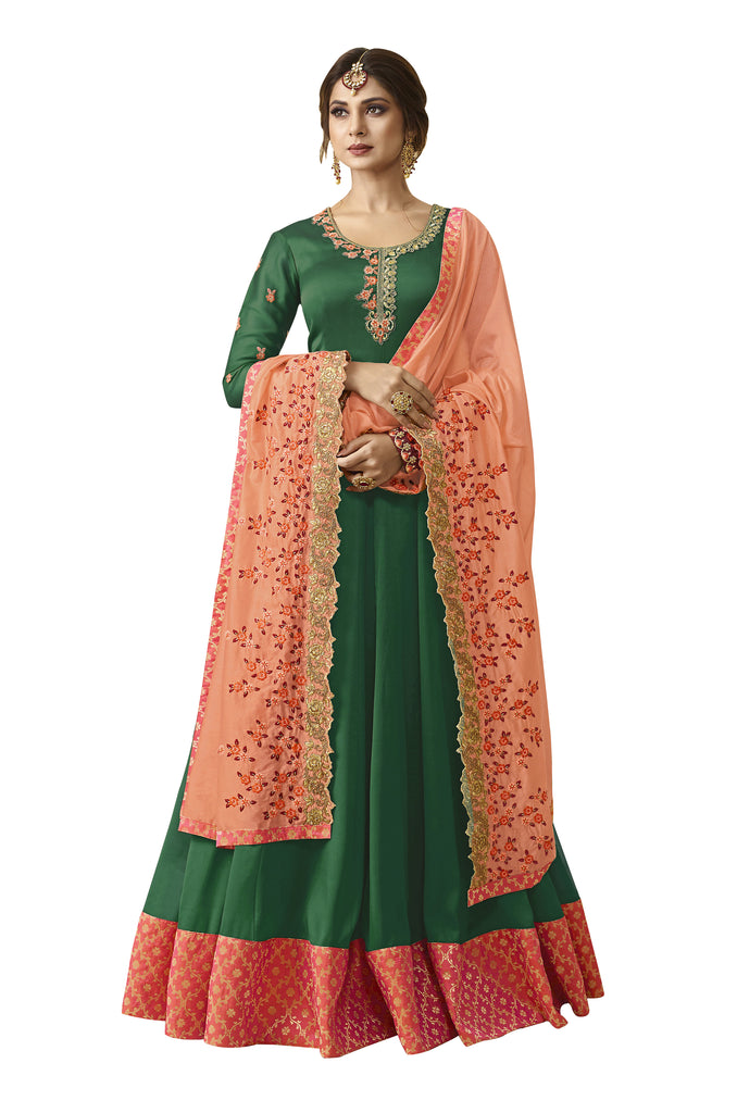 Latest Design Satin Georgette Gown With Green Colour