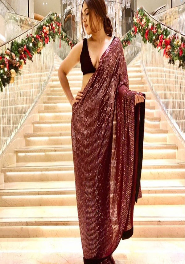Latest Maroon Color Sequence Work Saree