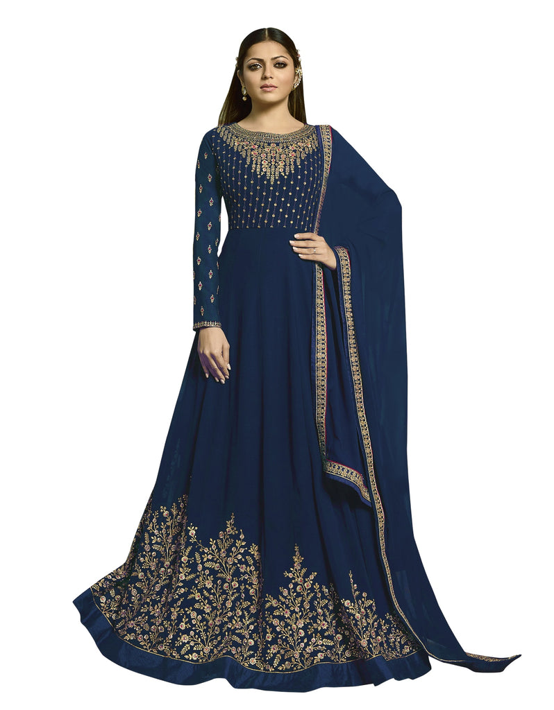Latest Design Georgette Gown With Navy Blue Colour