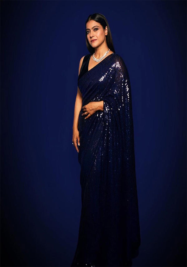 Latest Navy Blue Color Sequence Work Saree