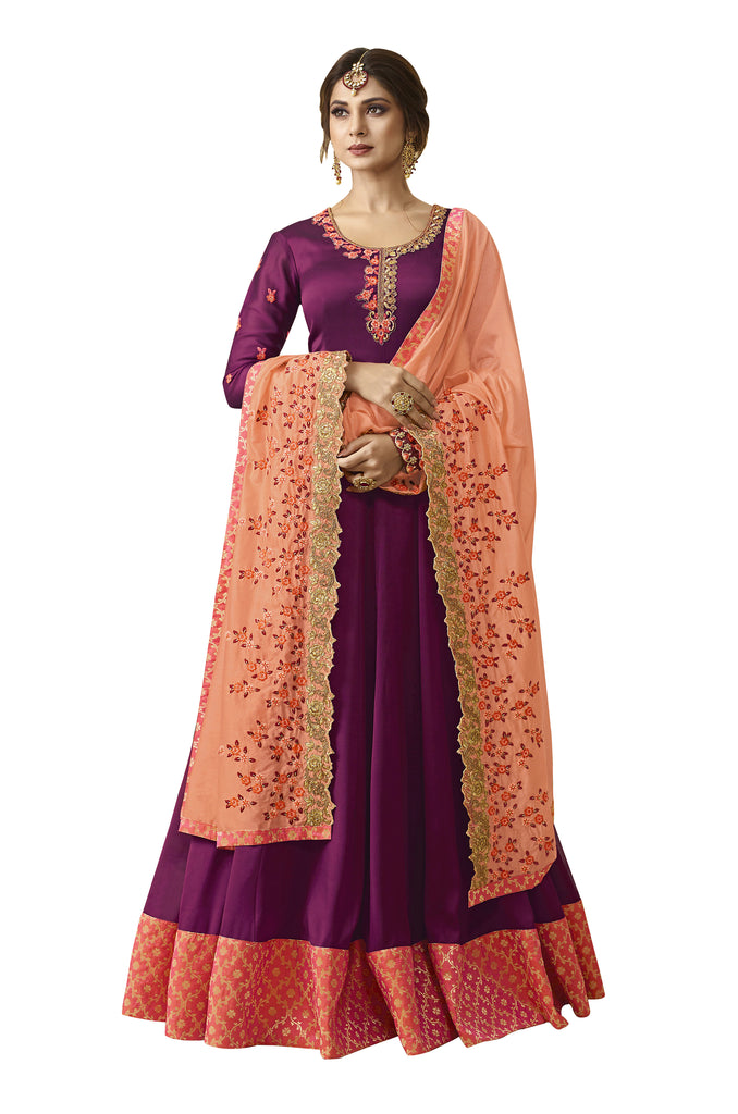 Latest Design Satin Georgette Gown With Purple Colour