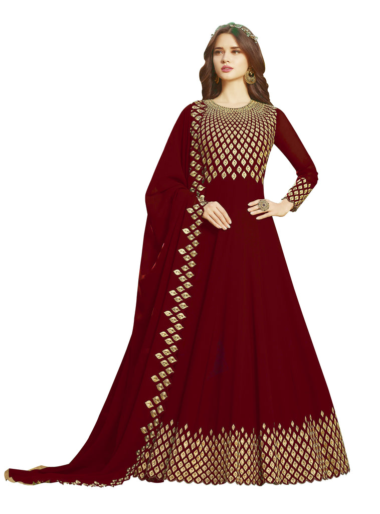 Latest Design Georgette Gown With Red Colour