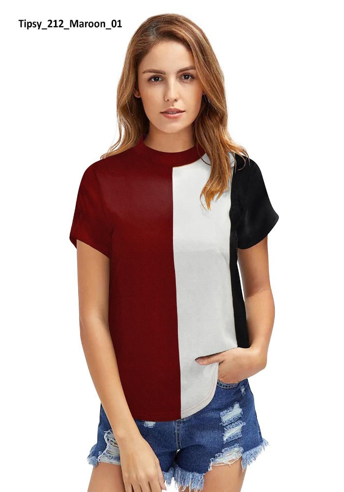 Women Maroon T-Shirt