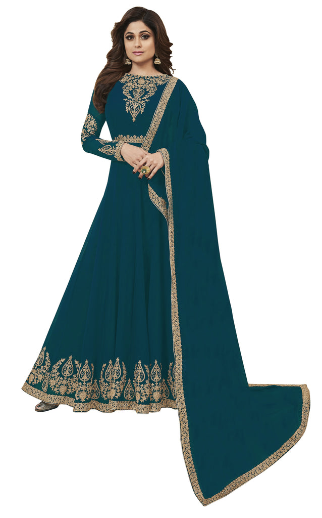 Latest Design Georgette Gown With Truquiose Colour