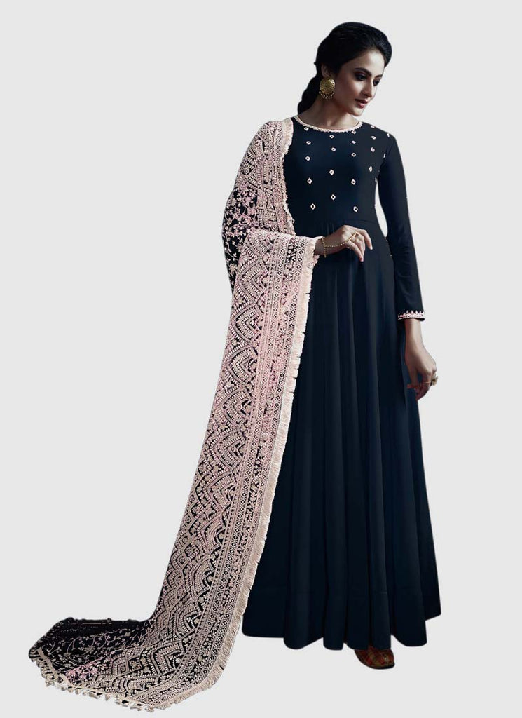Latest Design Georgette Gown With Black Colour