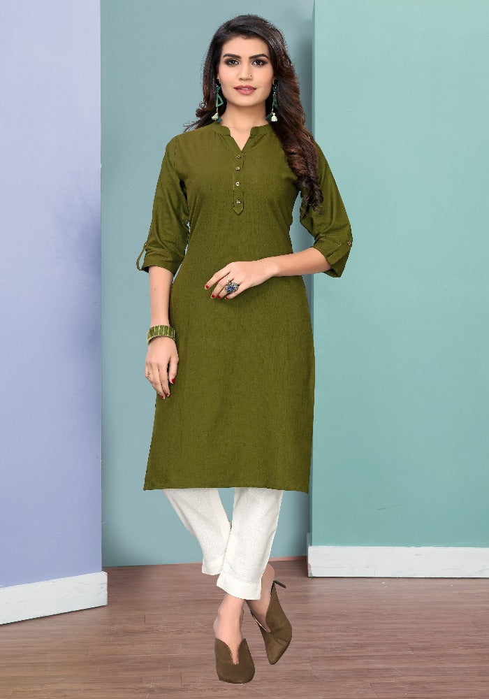 Pure Cotton Mehendi Color Solid Kurti