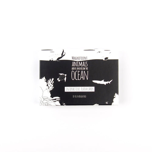 The Little Black & White Book Project Ocean animals black & white interactive flash cards