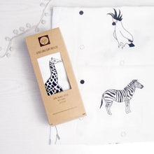 Load image into Gallery viewer, The Little Black & White Book Project Extra large animal print muslin swaddle blanket for new baby and mum. A great baby shower gift. a