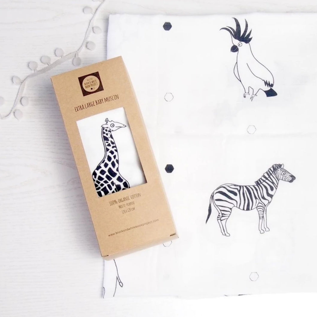 The Little Black & White Book Project Extra large animal print muslin swaddle blanket for new baby and mum. A great baby shower gift. a