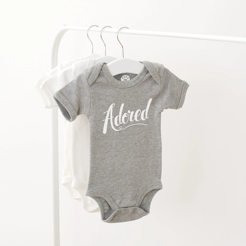 Alphabet Bags adored slogan grey baby vest gift for newborn
