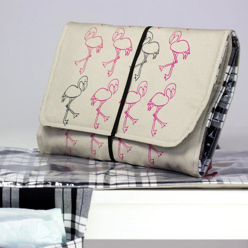 Misty & Boo Flamingo pattern travel changing mat bag for mum