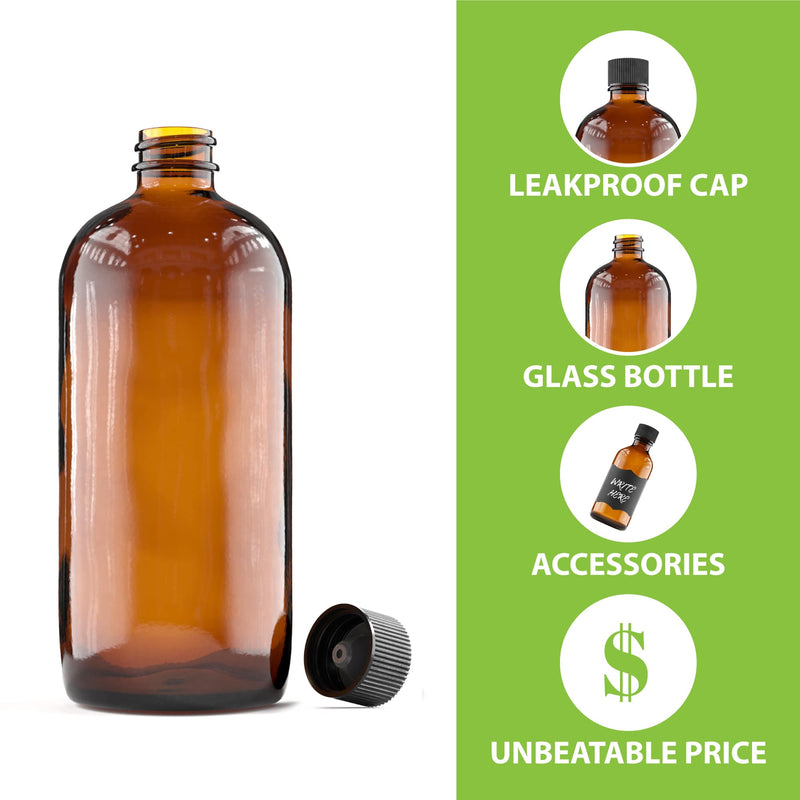 Amber Glass Bottle Set With Accessories - 16 Oz