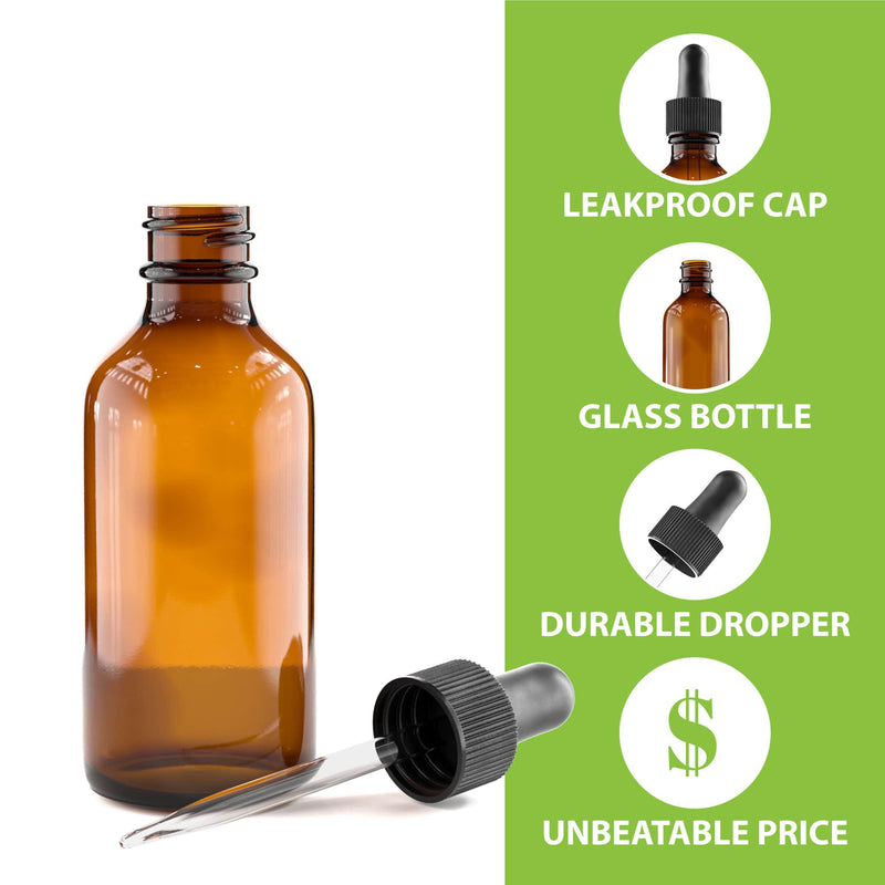 Amber Glass Bottle - DROPPER CAPS NOT INCLUDED - 60 mL (2 Oz)