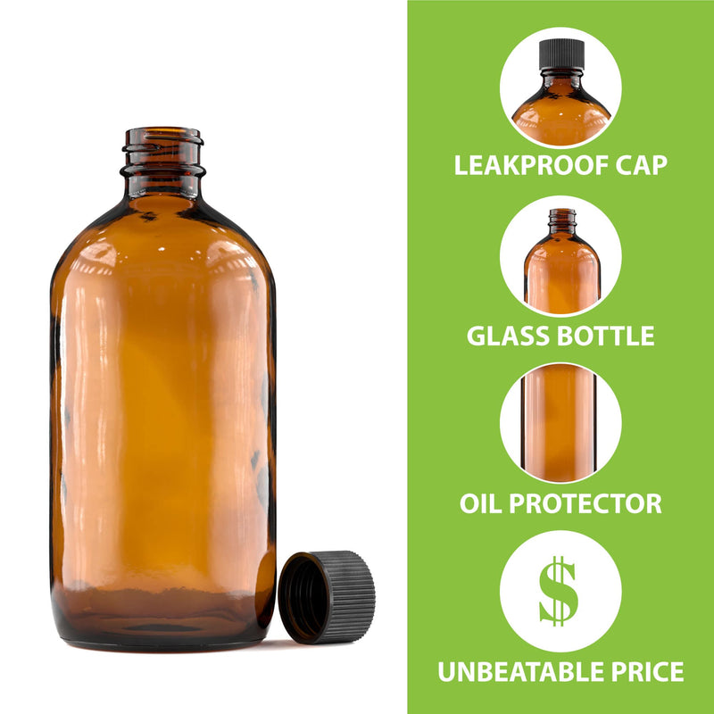 Amber Glass Bottle - CAPS NOT INCLUDED - 240 mL (8 Oz)