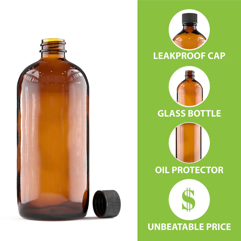 Amber Glass Bottle - CAPS NOT INCLUDED - 480 mL (16 Oz)