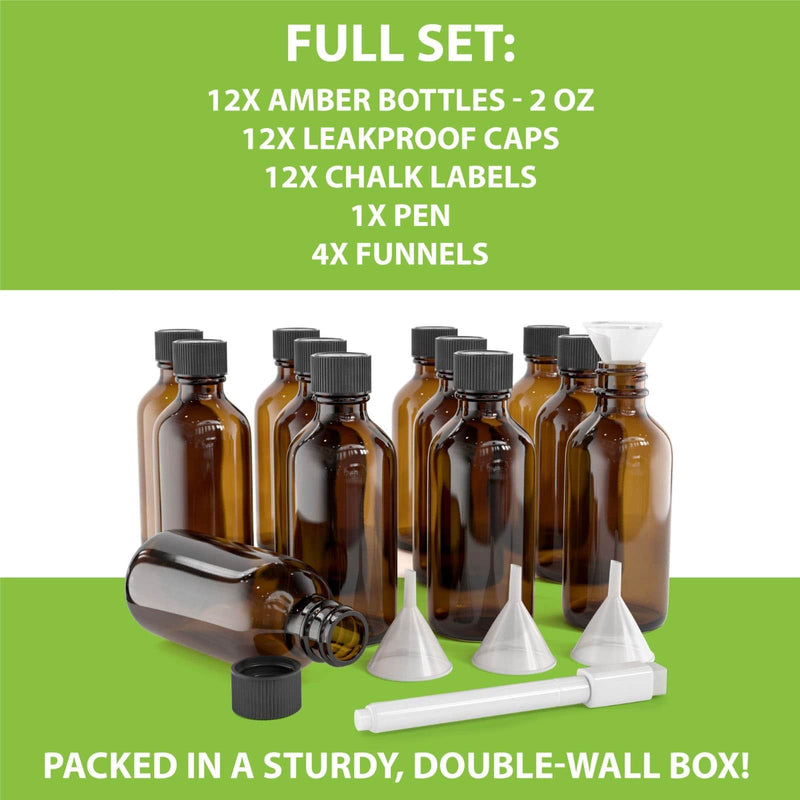 Amber Glass Bottle Set With Accessories - 2 Oz