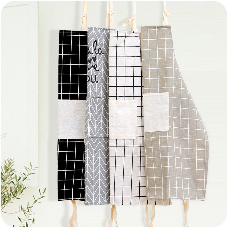 1Pcs Plaids Striped Cotton Linen Apron