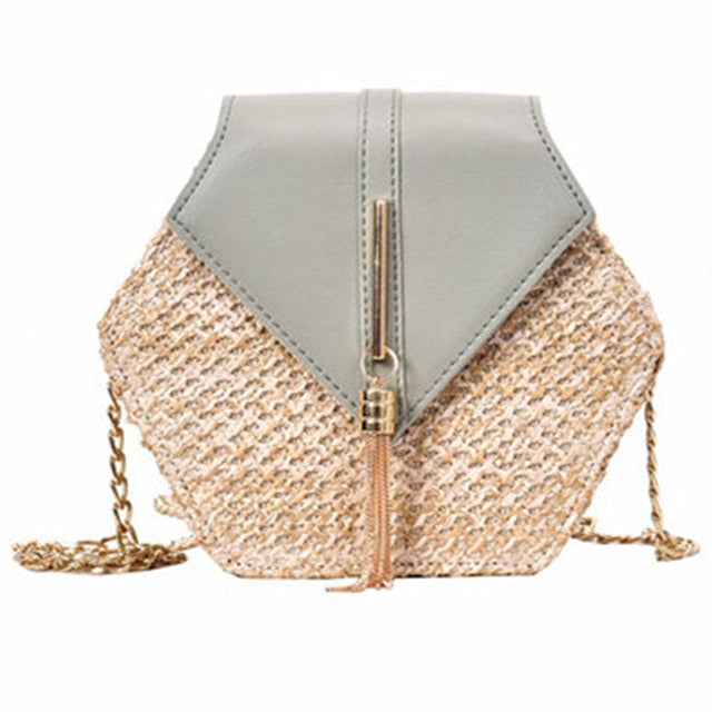 Hexagon Mulit Style Straw+leather Handbag