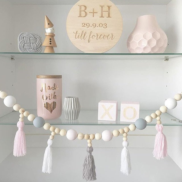 Nordic style colorful beads tassel wooden Wall Shelf Wall clapboard decoration Children room kids clothing store display stand