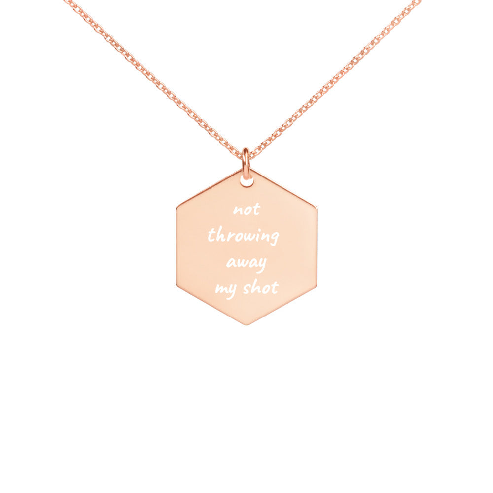Not Throwing Away My Shot Broadway Engraved Silver Hexagon Necklace