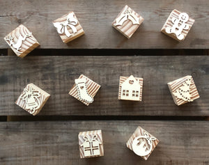 Christmas Wooden Block Stamps
