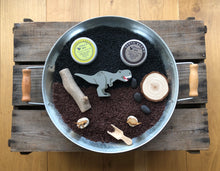 Load image into Gallery viewer, Dinosaur Senory Rice and Natural Playdough Playtray Set