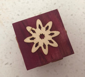 Flower & Butterfly Themed Wooden Block Stamp
