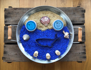 Sea Themed Senory Rice and Natural Playdough Playtray Set