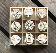 Chirstmas Cork Stamp Set - 9 Mixed Stamps