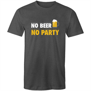 Colour Staple T-Shirt – No beer no party - black text - Mens