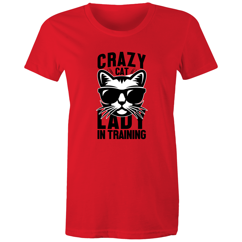 Maple Tee – Crazy cat lady in training – Black Text - Women's