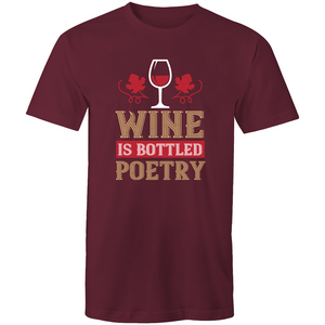 Colour Staple T-Shirt – Wine is bottled poetry - Mens