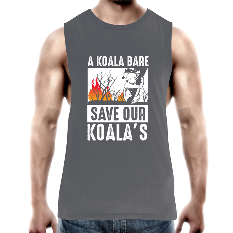 Tank Top Tee - A Koala Bare - White text - Mens