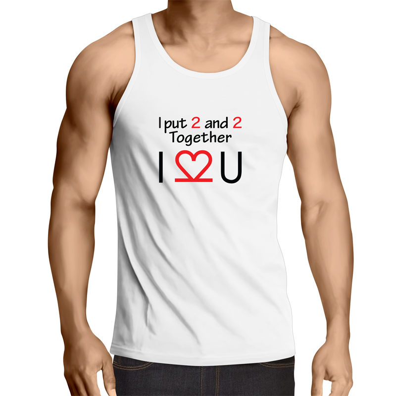 Singlet Top - I LOVE YOU – Mens – WHITE SHIRT ONLY