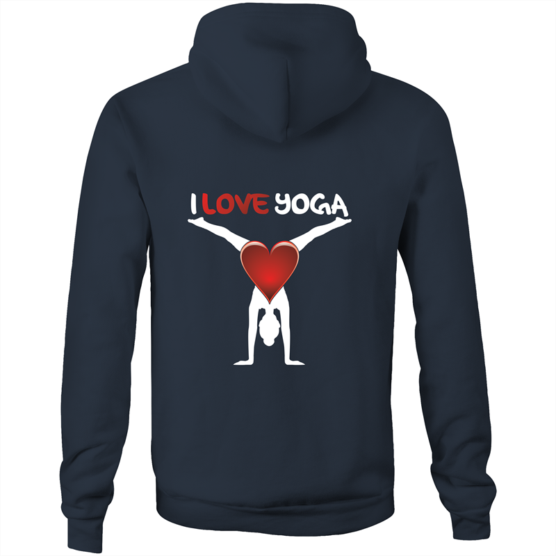 Pocket Hoodie Sweatshirt - I love yoga - White Text - Unisex