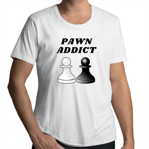 Scoop Neck T-Shirt – Pawn Addict - Black Text - Mens
