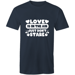 Colour Staple T-Shirt – Love is in the air - White text - Mens