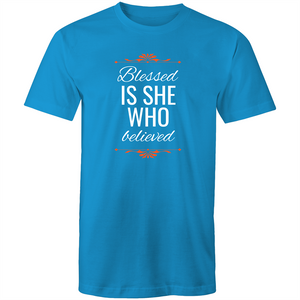 Maple Tee – Blessed is she who believed - Red Text - Women's